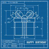 Gift Box As Technical Blueprint Drawing. Birthday Technical Concept. Mechanical Engineering Drawings poster