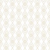 Vector Golden Lines Texture. Luxury Geometric Seamless Pattern With Diamonds, Rhombuses, Thin Crossi poster