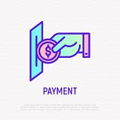 Hand Inserting Coin In Payment Slot. Payment For Laundry, Gaming, Purchase. Thin Line Icon. Modern V poster