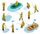 Fisherman Isometric. Fishing In River Pond Sea Tackle Rubber Fish Bucket Boat Fishing Rod 3d Isometr poster