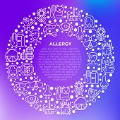Allergy Concept In Circle With Thin Line Icons: Runny Nose, Dust, Streaming Eyes, Lactose Intoleranc poster