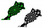 Morocco - Map Is Designed Cannabis Leaf Green And Black, Kingdom Of Morocco Map Made Of Marijuana (m poster