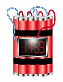 pic of time-bomb  - Time bomb connected to digital clock explodes on white background - JPG