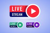 Live News, Video And Stream Signs, Buttons. Icons With Play Button And Text -  Live Stream, Live Vid poster