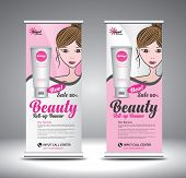 Roll Up Banner Template For Cosmetics, Make Up, Lipstick, Beauty, Spa With Beautiful Girl Vector. Ba poster
