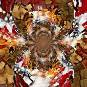 Abstract painting. Perception? Mirrored round fractal in Mondrian style. Faceless man holds mask in  poster
