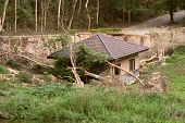 foto of landslide  - Broken and damage of house by landslide - JPG