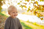 Toddler Boy Blue Eyes Enjoy Autumn. Small Baby Toddler On Sunny Autumn Day. Warmth And Coziness. Hap poster