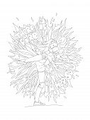 Cute Hand Draw Coloring Page With Brave Girl. Feminist Zen Art Vector Illustration For Colouring Pag poster