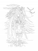 Cute Hand Draw Coloring Page With Brave Girl Warrior, In Ancient Wild Outfit - Viking. Girl Wanderer poster