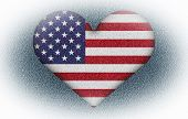 pic of dimentional  - US flag in heart shape to created from three dimention program - JPG