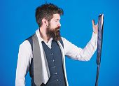 Guy With Beard Choosing Necktie. Gentlemens Guide. How To Choose Right Tie. Classic Style. How To Ma poster