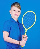 Guy With Racket Enjoy Game. Future Champion. Dreaming About Sport Career. Athlete Kid Tennis Racket  poster