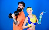 Healthy Lifestyle Concept. Man And Woman Exercising With Dumbbell And Jumping Rope. Fitness Exercise poster