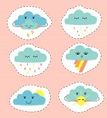 Drawing Of Clouds In The Form Of Stickers. Set Of Cute Cartoon Clouds: Rain Cloud; Thunder Cloud; Cl poster
