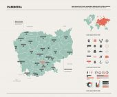 Vector Map Of Cambodia. High Detailed Country Map With Division, Cities And Capital Phnom Penh. Poli poster