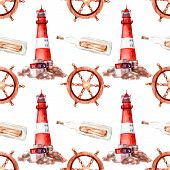 Watercolor Sea Voyage, Yachting, Ship Voyage, Seamless Pattern poster