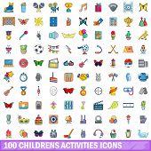 100 Childrens Activities Icons Set. Cartoon Illustration Of 100 Childrens Activities Icons Isolated  poster