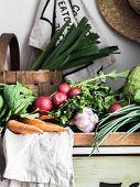 Spring Vegetarian Food Ingredient Variety. Assortment Of Spring Vegetables For Healthy Cooking Over  poster