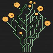 Information Tree. Computer Circuit With Messages. Vector Tree With Messages. Computer Board Tree Wit poster