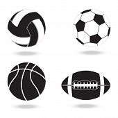 Black And White Icons Of  Balls. Balls For Volleyball, Football, Basketball And American Football. poster