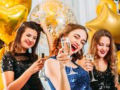 Hen Party. Brunette Lady Celebrating With Maids Of Honor Upcoming Special Day. Girls Having Fun, Dri poster