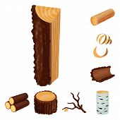 Isolated Object Of Signboard  And Wood Logo. Collection Of Signboard  And Wooden Stock Symbol For We poster