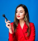 Hiding All Imperfections. Attractive Woman Applying Makeup Brush. Perfect Skin Tone. Makeup Artist C poster