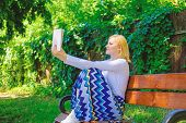 Lady Pretty Bookworm Busy Read Book Outdoors Sunny Day. Literary Critic. Woman Concentrated Reading  poster