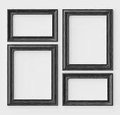 Black Wood Blank Frames For Picture Or Photo On White Wall With Shadows, Decorative Wooden Picture F poster