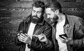 Modern Technology. Men With Smartphones Surfing Internet. Mobile Internet. Business Application. Men poster
