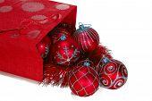 Red Gift Bag Full Of Christmas Toys poster