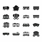 Railway Carriage Icon Set. Simple Set Of Railway Carriage Icons For Web Design Isolated On White Bac poster