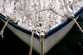 Bow Of Fishing Boat With Rope. Bow Of Blue And White Fishing Boat With Rope, Close-up. Fishing White poster
