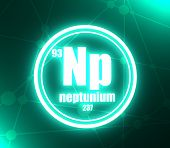 Neptunium Chemical Element. Sign With Atomic Number And Atomic Weight. Chemical Element Of Periodic  poster