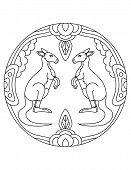 Kangaroo Pattern. Illustration Of Kangaroo. Mandala With An Animal.  Kangaroo In A Circular Frame. C poster