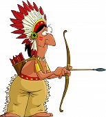 picture of longbow  - Indian on a white background vector illustration - JPG