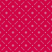 Vector Geometric Seamless Pattern With Small Flower Silhouettes, Squares, Delicate Lattice, Grid, Me poster