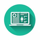 White Medical Clinical Record On Laptop Icon Isolated With Long Shadow. Health Insurance Form. Docum poster