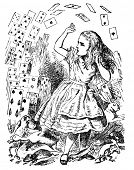 stock photo of alice wonderland  - Alice and a deck of cards - JPG