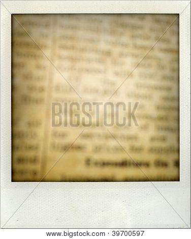 Closeup of words on vintage newspaper