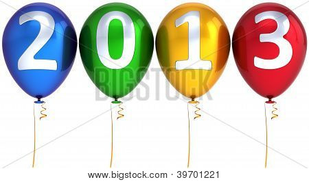 New 2013 Year balloons party multicolor decoration. Happy New Year
