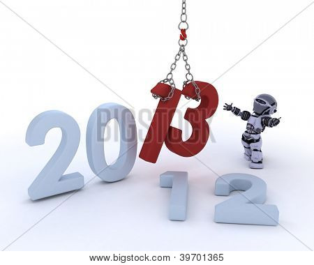 3D render of a Robot bringing in the new year
