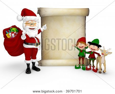 3D Santa with a Christmas list and helping elves - isolated