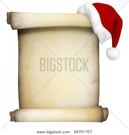 3D Christmas scroll with a Santa hat - isolated over a white background