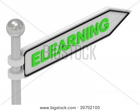 Elearning Word On Arrow Pointer