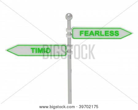 "Signs With Green ""timid"" And ""fearless"""