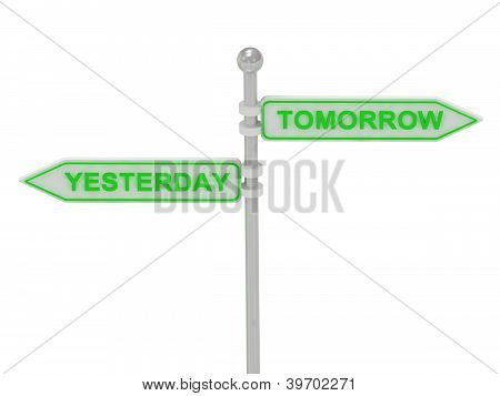 "Signs With ""yesterday"" And ""tomorrow"""