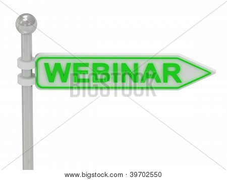 "3D Rendering Of Sign With Green ""webinar"""