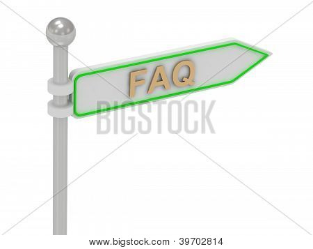 "3D Rendering Of Sign With Gold ""faq"""